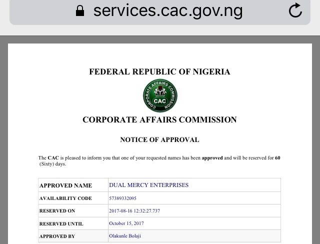 CAC Code & Company Registration Status